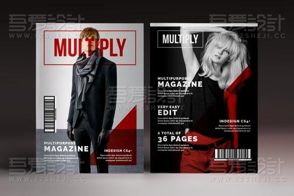 36页杂志摄影服装展示InDesign画册模板