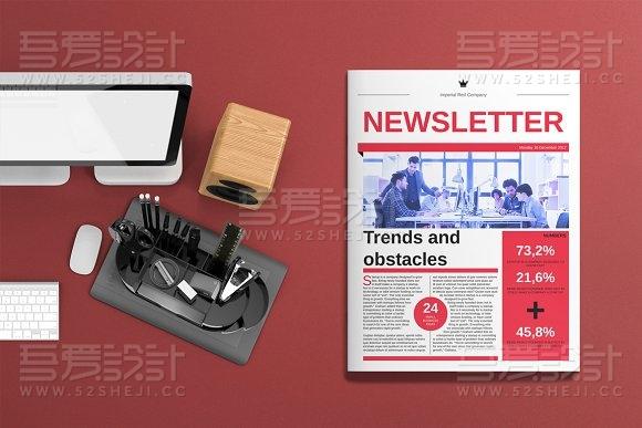 红色杂志报纸风格画册模板