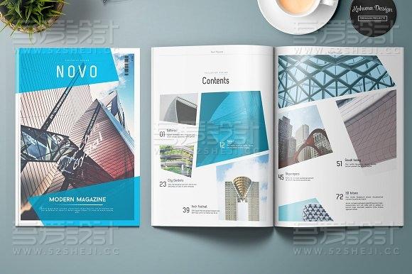 蓝色高端大气企业介绍画册模板