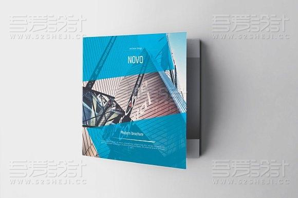 蓝色高端大气企业介绍方形折页模板