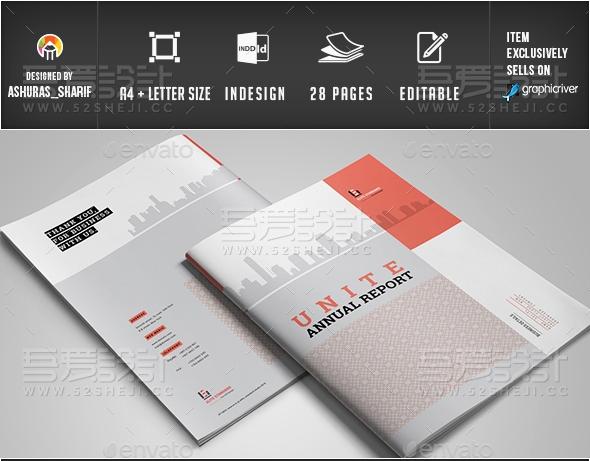 红色简约大气企业画册模板