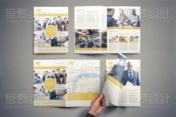 欧美简约企业宣传画册模板