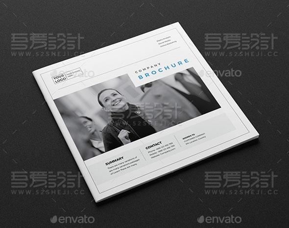 方形简约企业宣传画册模板