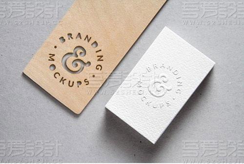 镂空卡片logo展示样机贴图模板