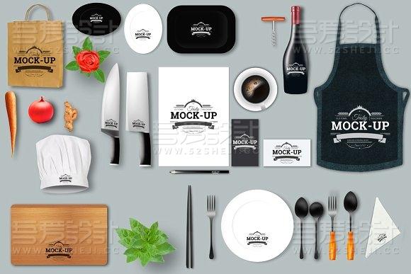 餐饮行业VI智能贴图样机模板
