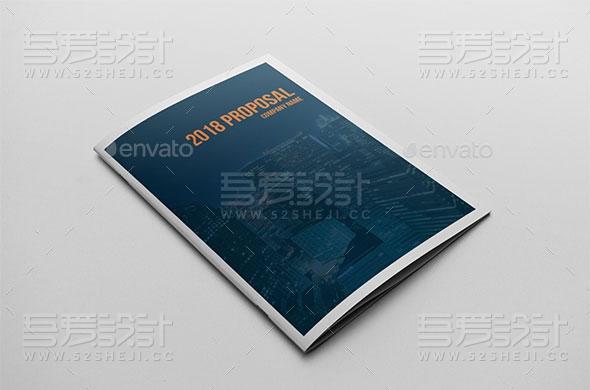 橙蓝双色高端欧美风企业宣传画册模板