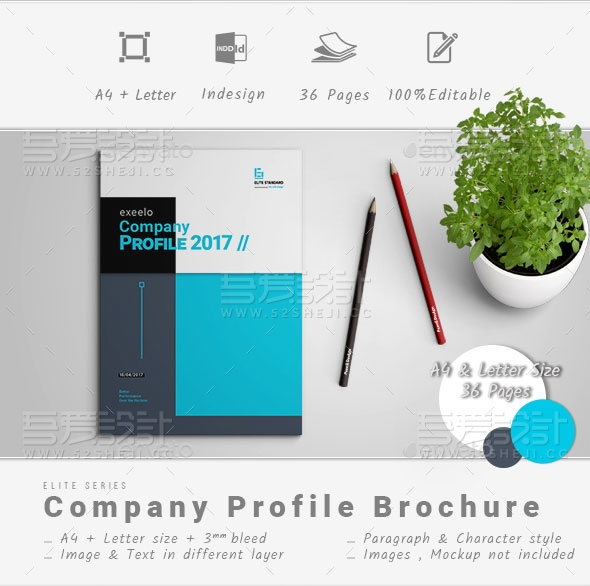 蓝色公司简介企业宣传画册模板