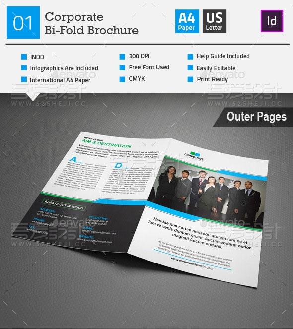 简约欧美风企业宣传画册模板
