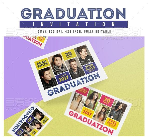 毕业典礼邀请卡片模板