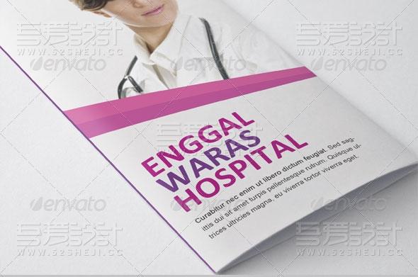 紫色高端大气医疗三折页模板