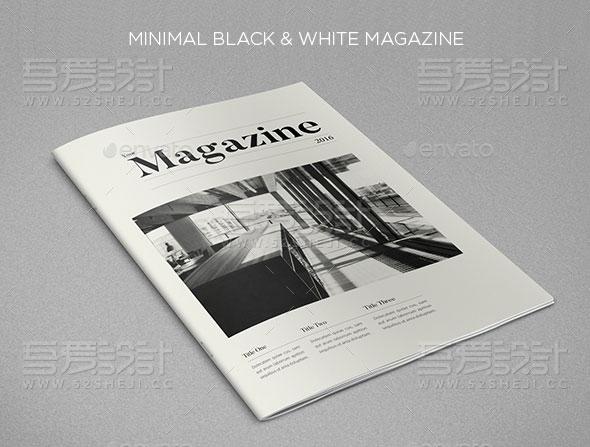 黑白杂志宣传画册模板