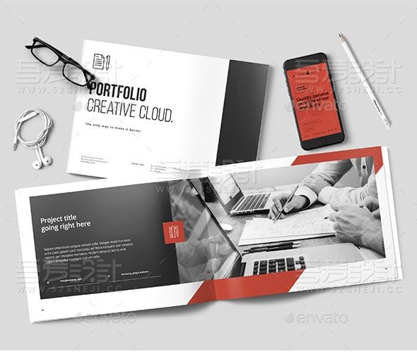 红色简约大气创意时尚企业宣传画册模板