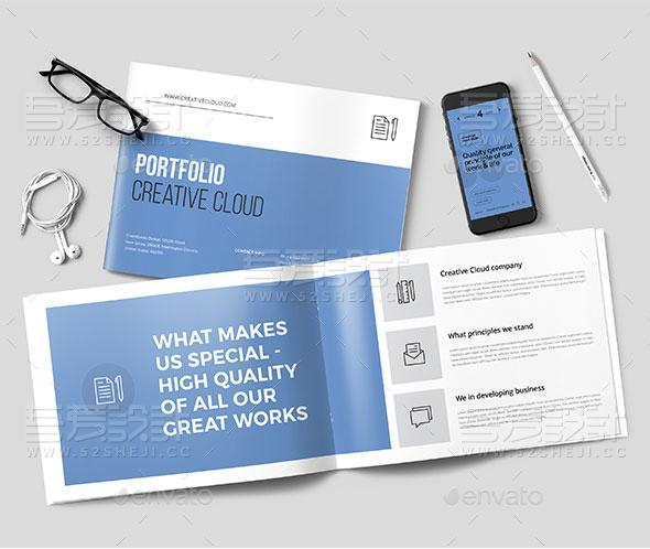 蓝色简约大气欧美风格企业宣传画册模板