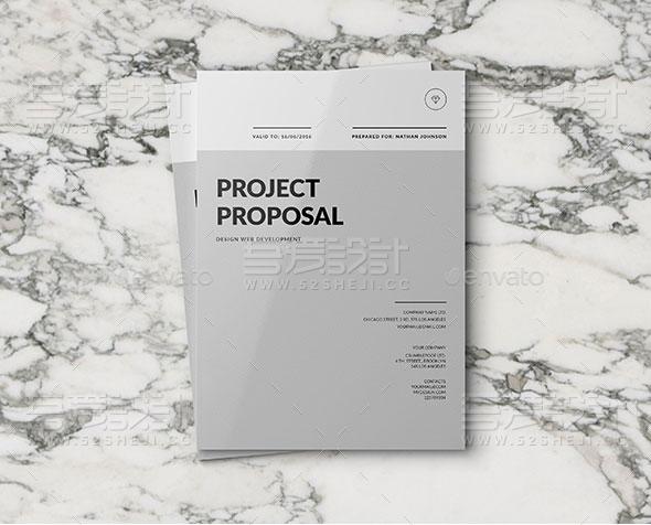 灰色简约风格企业宣传画册模板
