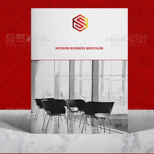 红色简约大气企业宣传画册模板
