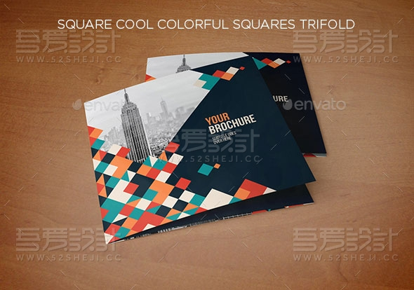 方形凉彩方块企业三折页模板