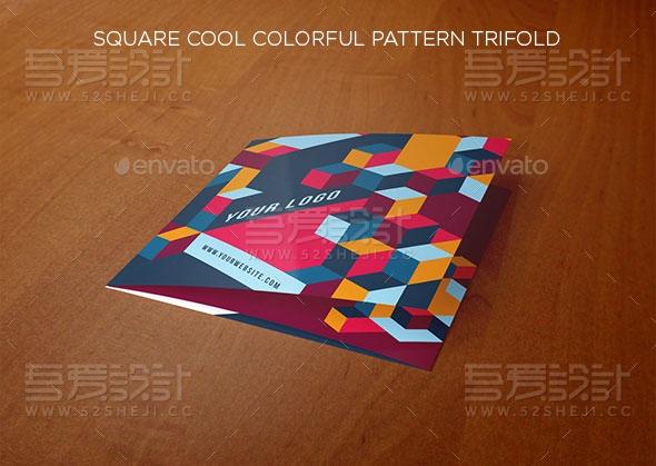 方形炫彩花纹企业三折页模板