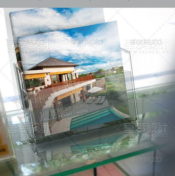 酒店别墅度假村方形宣传画册模板