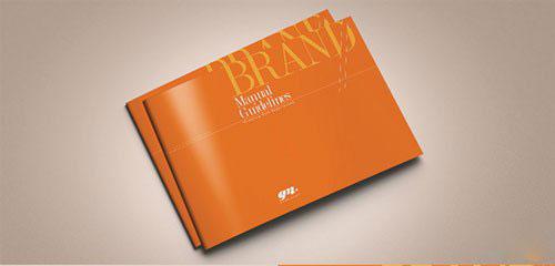 橙色横板简约大气宣传画册模板