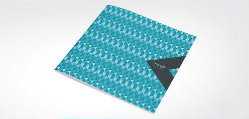 方形蓝色简约企业宣传画册模板