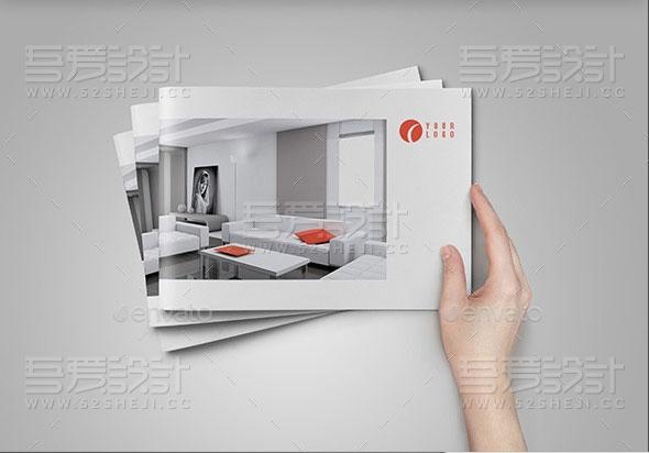 简约大气室内设计展示宣传画册模板
