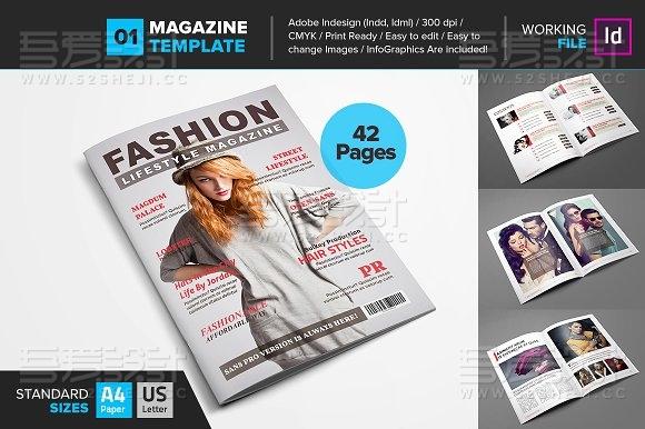 简约杂志风格服装展示宣传杂志画册模板