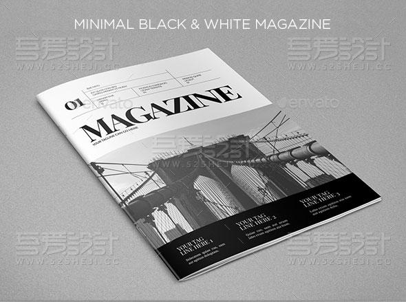 简约黑白组合杂志画册模板