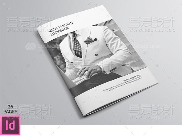 简约产品展示男士时尚杂志画册模板