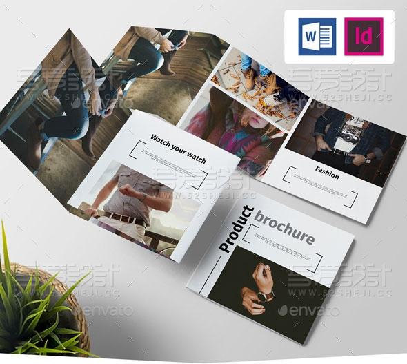 欧美风格产品展示三折页模板