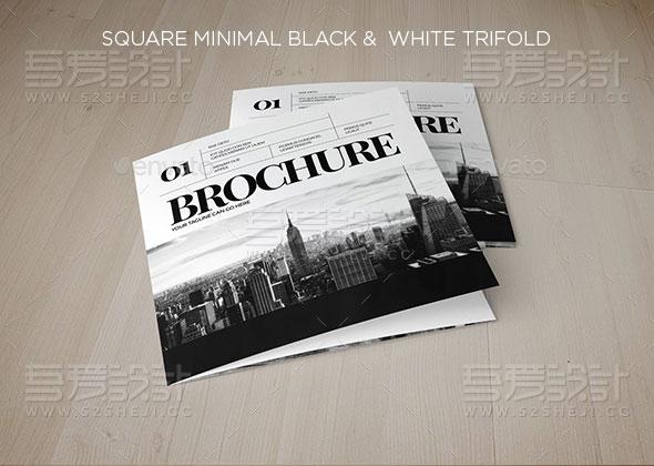 方形最小黑白企业三折页模板