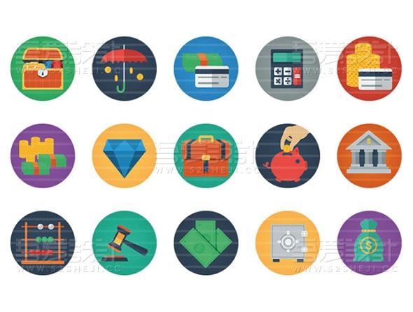 95款扁平化UI图标素材5种格式AI、EPS、PSD、PNG和SVG