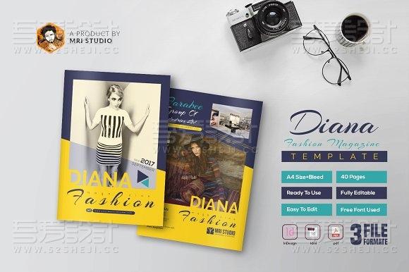 40P创意杂志时装秀InDesign画册模板