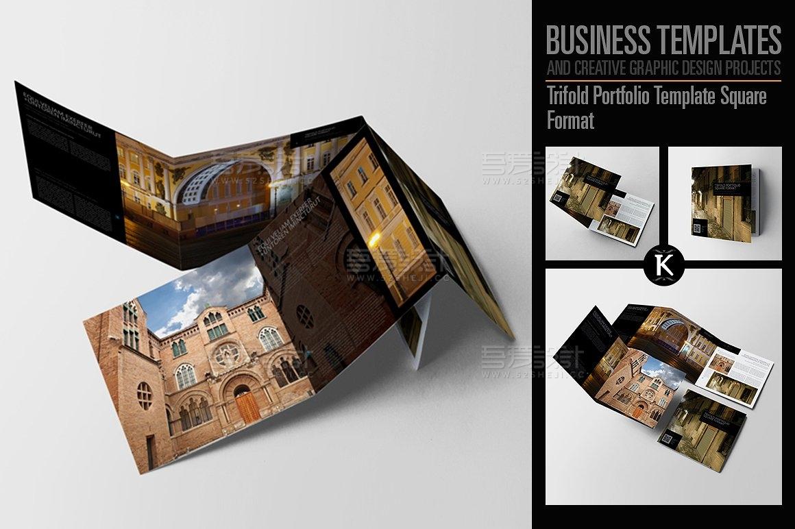 建筑摄影介绍方形三折页模板