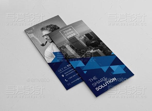 蓝色折纸风格高端大气企业三折页模板