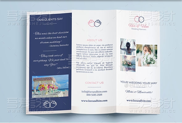 婚礼策划宣传三折页模板