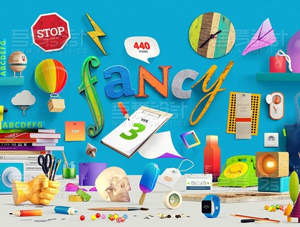 PSD立体图形素材包 250多种创意图形