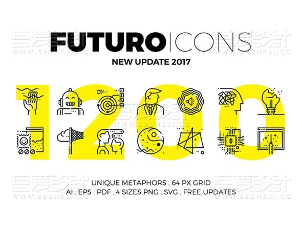 1200个创意线性icon矢量图标