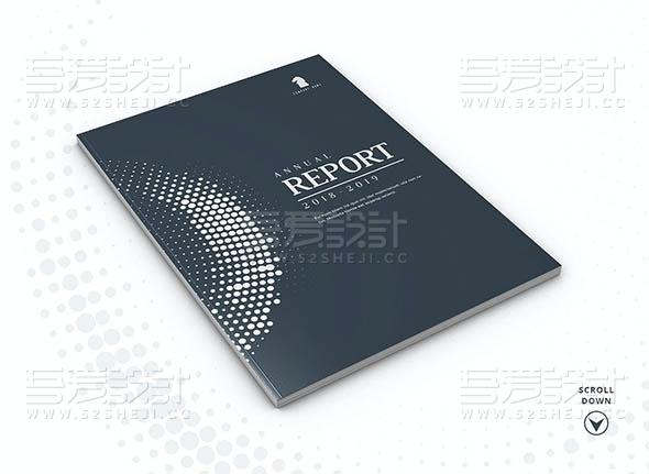 蓝色企业年度报告总结画册模板