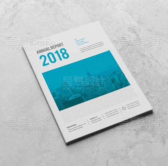 蓝色简约大气企业年报画册模板