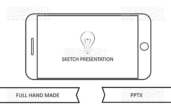 黑白手绘简约图形图标风格PPT模板