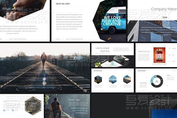 简约时尚商务图片展示keynote模板