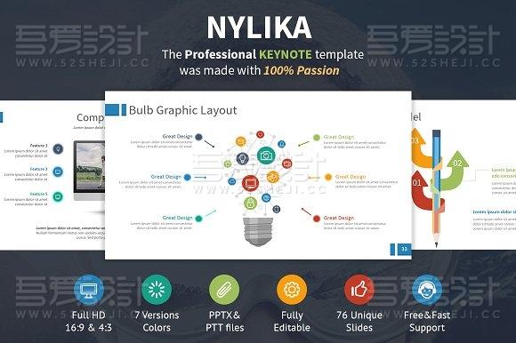 高端商务多种配色图形图表keynote模板
