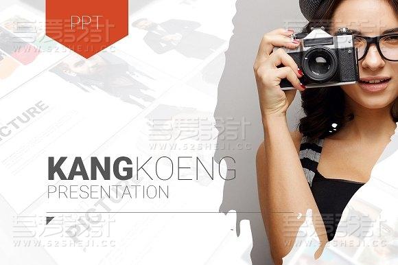 创意时尚摄影照片个人写真图片展示PPT模板