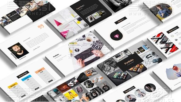 100创意极简产品人物展示keynote模板