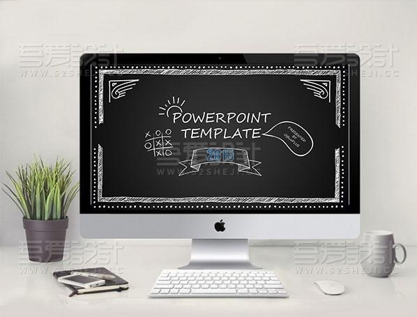 手绘线条黑板风格PPT模板