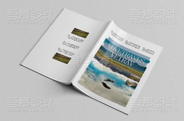 蓝色风旅游画册设计模板