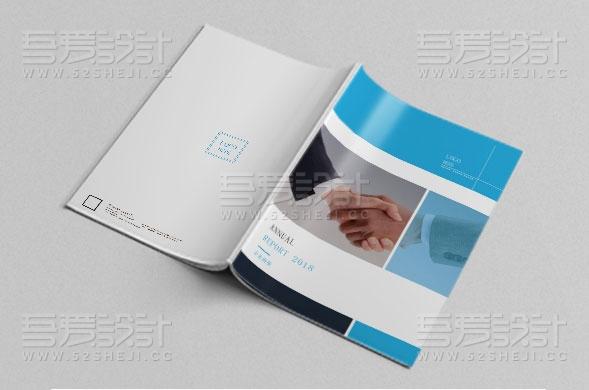 蓝色简约商务风格画册设计模板