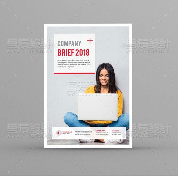 红色欧美风格企业宣传画册模板