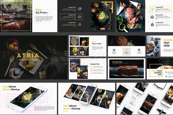 90多页餐饮美食展示keynote模板