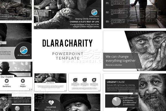 慈善贫困山区摄影展示PPT模板